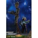 PRECOMMANDE Groot & Rocket MMS Figurines 1/6 Hot Toys